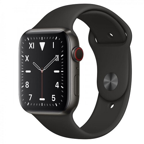 Apple Watch Series 5 GPS + Cellular 44mm Space Black Titanium Case with Black Sport Band (MWR52)