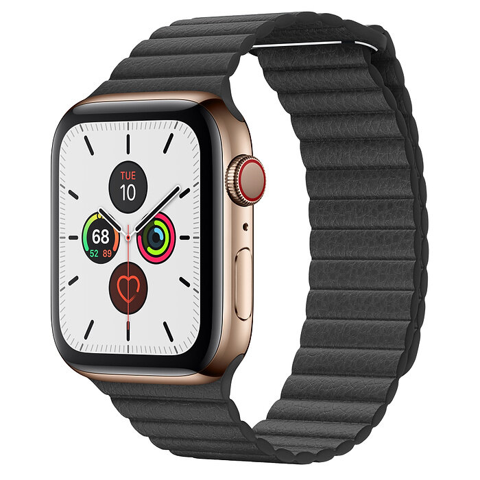Apple Watch 5 (GPS + Cellular) 44mm Gold Stainless Steel Case with Black Leather Loop (MWQN2)
