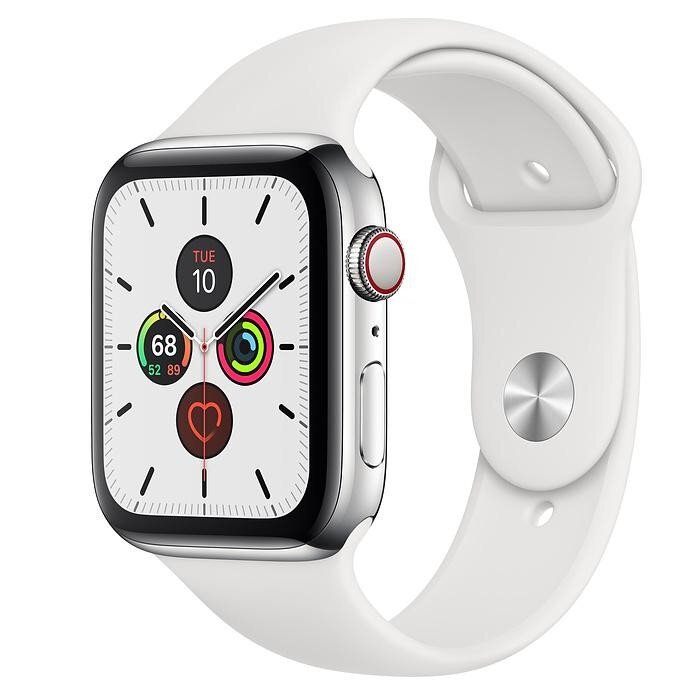 Apple Watch Series 5 (GPS + Cellular) 44mm Steel w. White b.- Steel (MWW22)