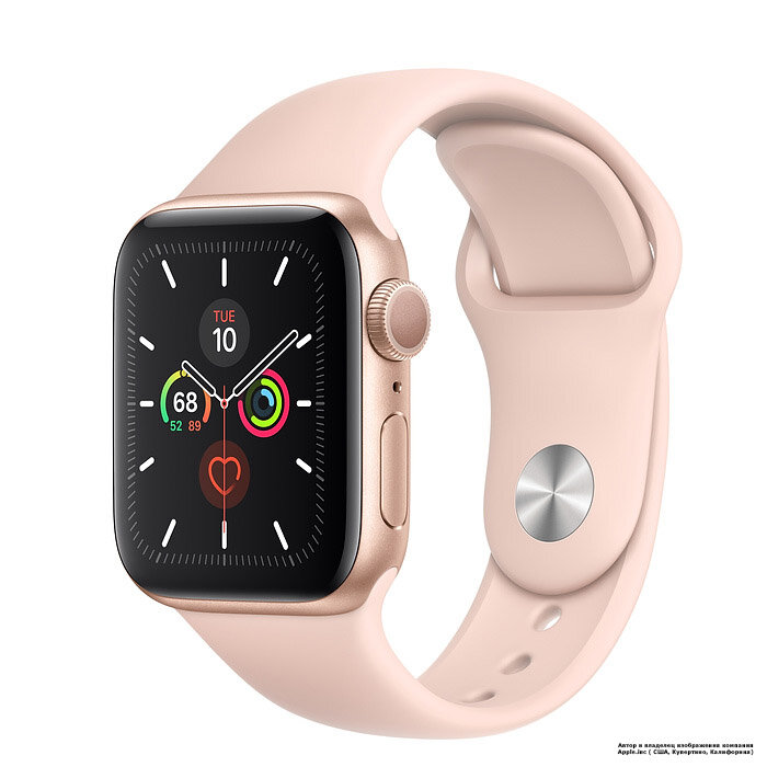 Apple Watch 5 (GPS) 40mm Gold Aluminum Case with Pink Sand Sport Band (MWV72) (open box)