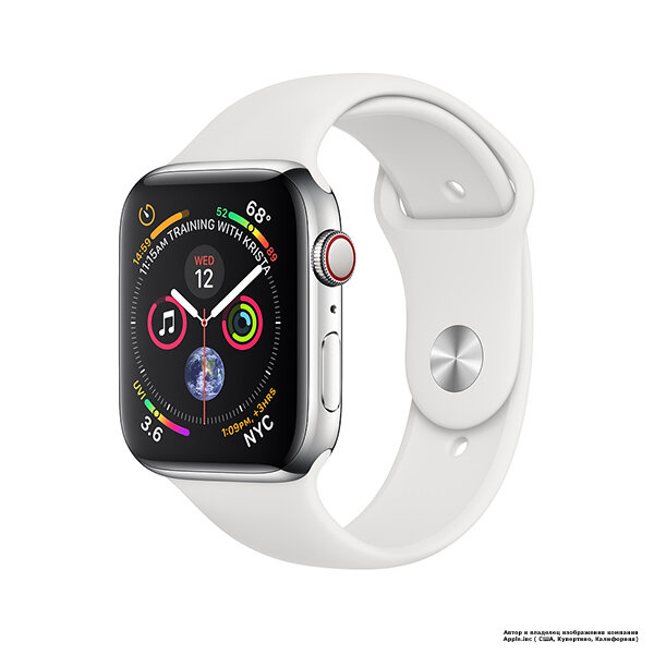 Apple Watch 4 (GPS + Cellular) 44mm Stainless Steel Case with White Sport Band (MTV22)